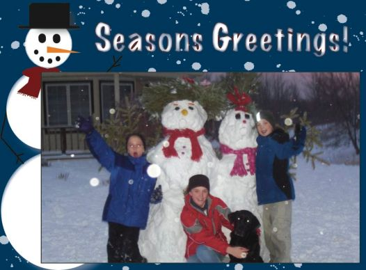 "Greeting Card Template B ""Season's Greetings"" Card size 5.75"" x 4.25"": Picture size 5""x3"""